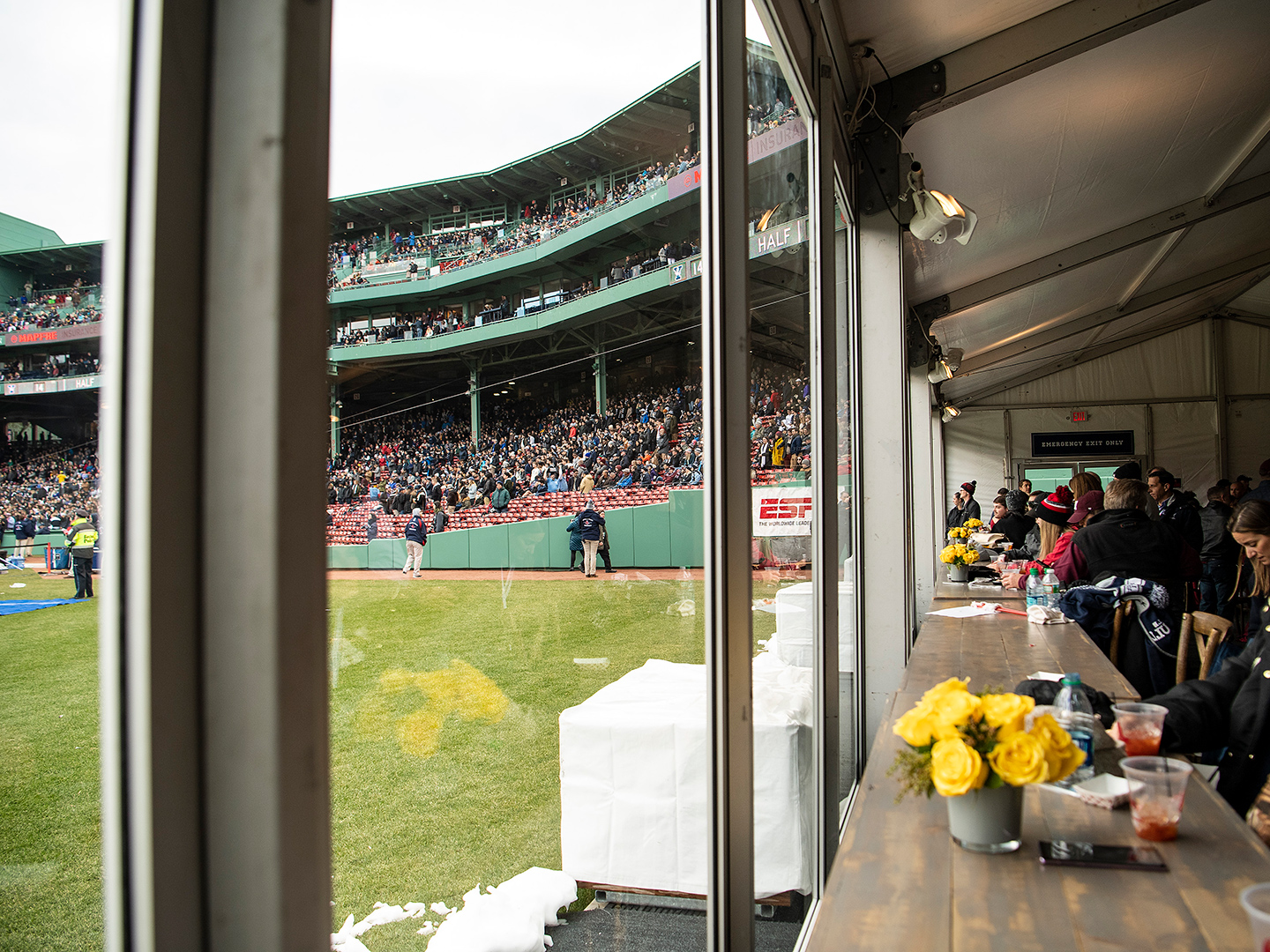 Inside of PEAK tent set up in Fenway Park outfield for Harvard-Yale football game